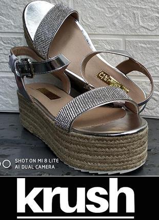 Босоножки сандалии на джутовой платформе со стразами с камнями krush р.40 original