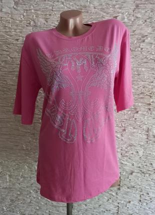 Стильная розовая футболка со стразами турция