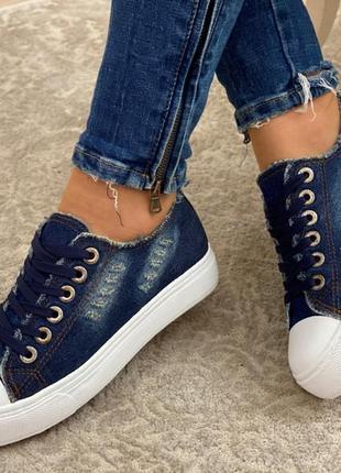Женские кеды. джинс. синие