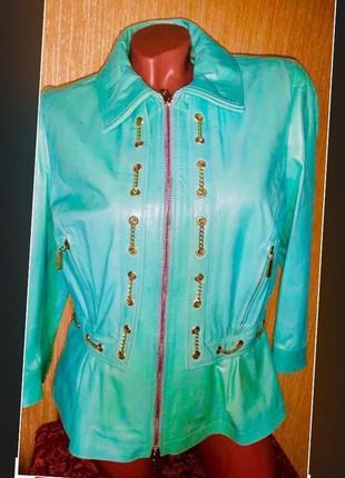Roberta biagi новая кожаная куртка пиджак жакет с баской салатовая бирюзовая