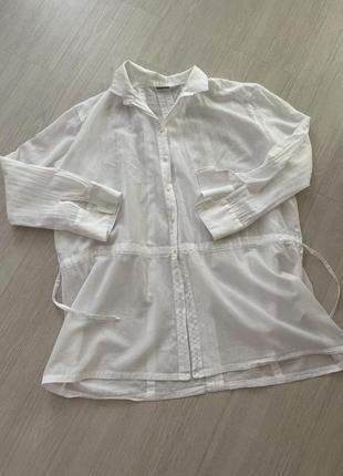 Рубашка туника белая хлопковая нарядная
