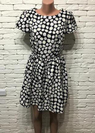 Платье миди  с принтом ромашек