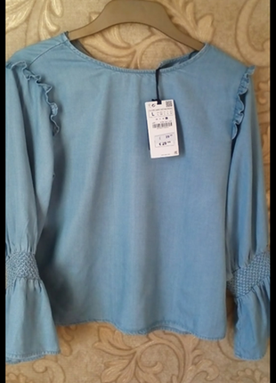 Блуза с объемными рукавами фонариками из лиоцела zara