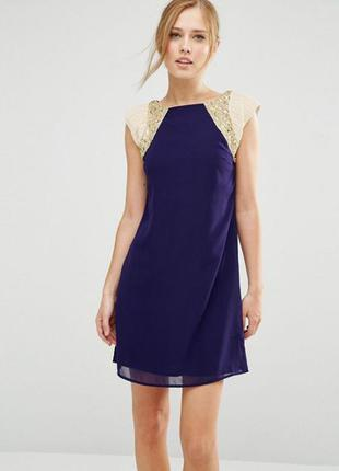 Красивое нарядное шифоновое платье сдекором из бисера little mistress 8-10uk