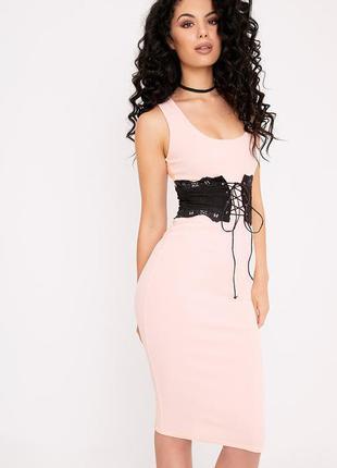 Платье с корсетом пудровое розовое приталенное вечернее миди длинное