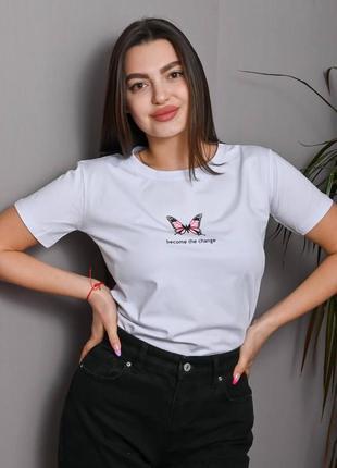 """Женская футболка  белого цвета с принтом """"вutterfly"""""""