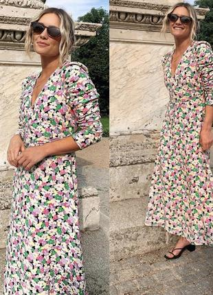 Длинное платье с цветочный принт, макси платье р42-44 h&m 1+1=3