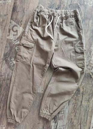 Джоггеры тонкие джинсовые хлопок высокая посадка с карманами