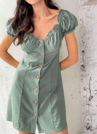 Льняное платье хаки на пуговичках, можно носить с открытыми плечами