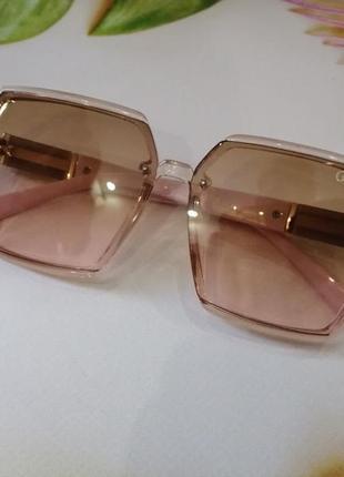 Брендовые нюдовые солнцезащитные женские очки скошенный квадрат прозрачная оправа