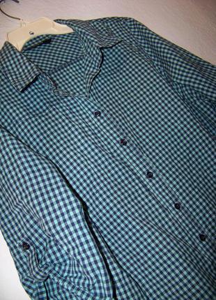Рубашка в клетку бирюза