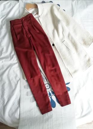 Классические брюки штаны терракотовые класичні штани теракотові на высокой посадке талии