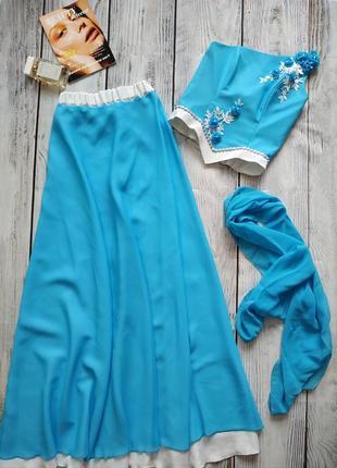 Выпускной наряд , платье голубого цвета