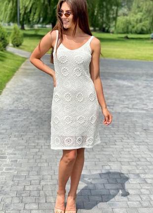 Летнее платье вязаное
