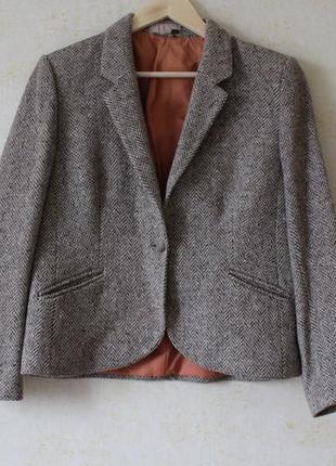Винтажный шерстяной пиджак жакет шерсть 100%, укороченный пиджак жакет, піджак британия