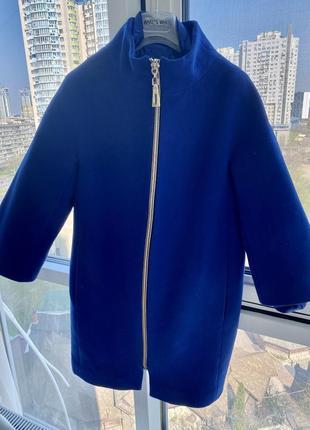 Кашемировое пальто трансформер комбинированное синего цвета электри