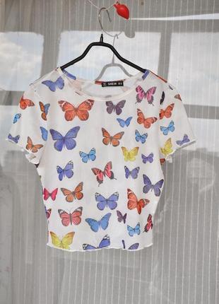 Кроп топ футболка с бабочками сеточка прозрачная короткая  метелики 90-е бабочки нулевые 2000 яркая сетка