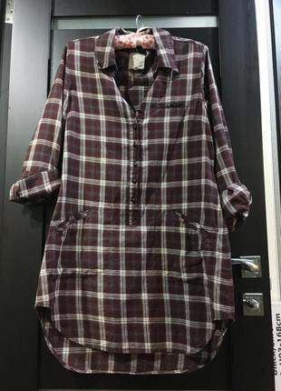 Платье рубашка  клетку s-m