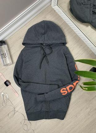 Adidas адидас женская кофта на замке свитшот худи толстовка реглан оригинал серая