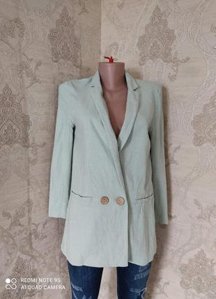 Льняной пиджак удлиненный блейзер примарк двубортный