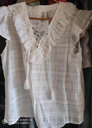 Идеальноя хлопковая летняя блузка hm