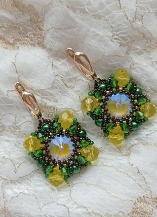 Серьги, серёжки, сережки, кульчики зелёные из бисера ручной работы