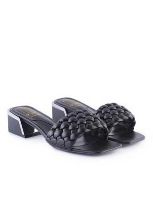 Женские чёрные плетенные сабо шлепки мюли