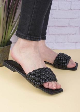 Женские чёрные тапочки шлепки сабо плетенные