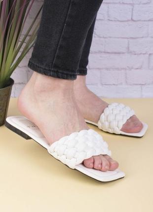 Женские белые тапочки сабо мюли плетенные
