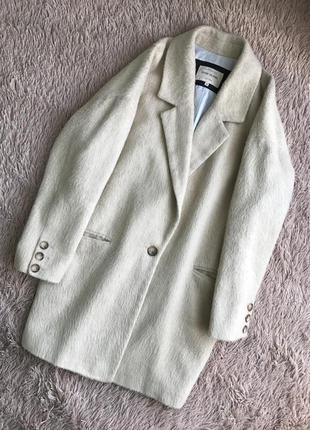 Стильное пальто кокон oversize boyfriend беж 12% шерсти