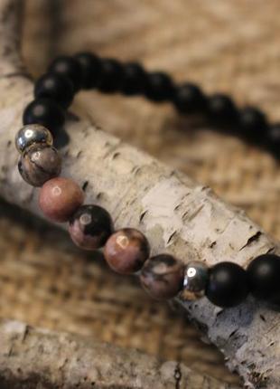 Браслет з шунгіту та родоніту 🖤❤. жіночий браслет. чоловічий браслет. браслет з каміння
