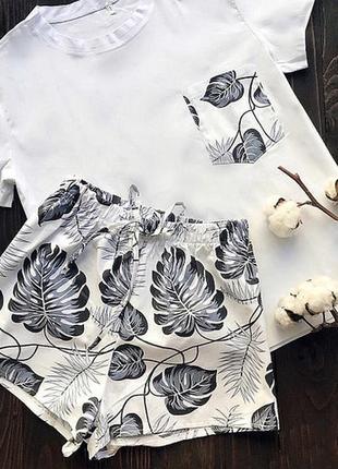Пижама хлопковая, футболка и шорты, домашний костюм