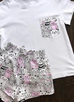 Пидама с котиками, футболка и шорты из хлопка, домашний костюм