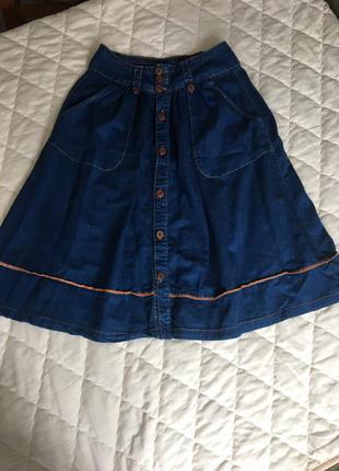 Юбка под джинсу синяя модная