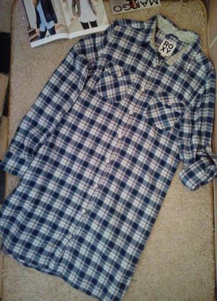 Roxy крутое стильное платье-рубашка в клетку