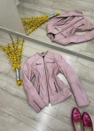 Cabrini-розовая куртка кожанка💕