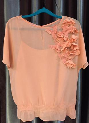 Безумно красивая шифонованая блуза ted baker с объёмными цветами из коллекции butterfly