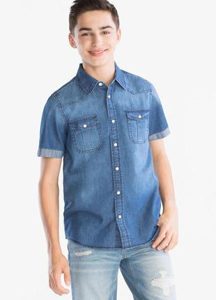 Легка джинсова сорочка з короткими рукавами, р.182, c&a, німеччина / джинсовая рубашка