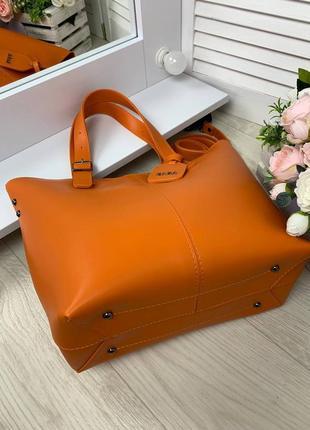 Оранжевая большая сумка6 фото