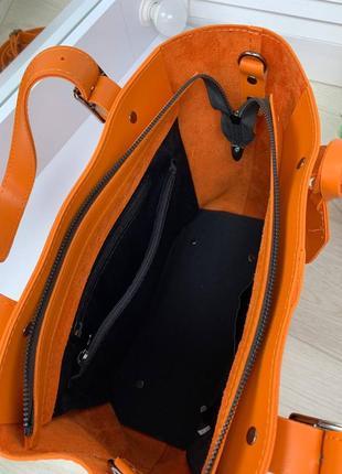 Оранжевая большая сумка7 фото