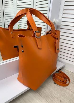 Оранжевая большая сумка4 фото