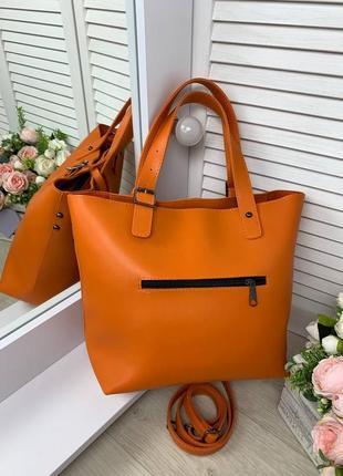 Оранжевая большая сумка3 фото