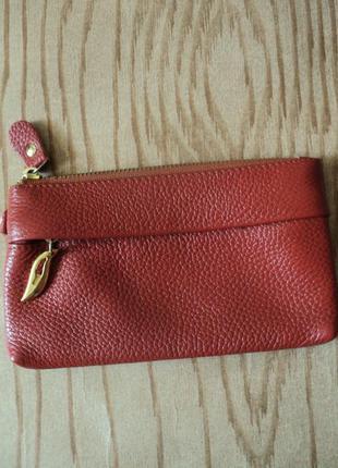 Кошелек кожаный клатч натуральная кожа коричневый натуральной кожи барсетка сумочка