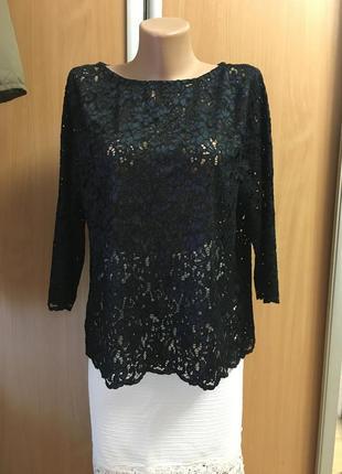 Вечерняя гипюровая кружевная блуза р 16