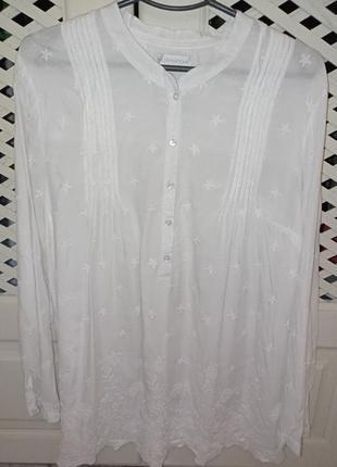 Рубашка блуза белая вышивка 16р