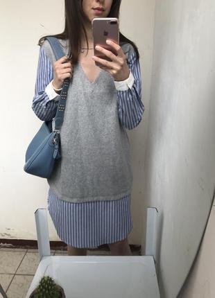 Платье -рубашка ,длинная рубашка , жилетка m