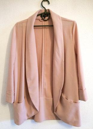 Пудровый светло-розовый пиджак жакет кардиган