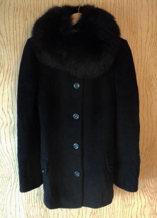 Пальто полупальто черное шерстяное воротником натурального меха меховым классическое