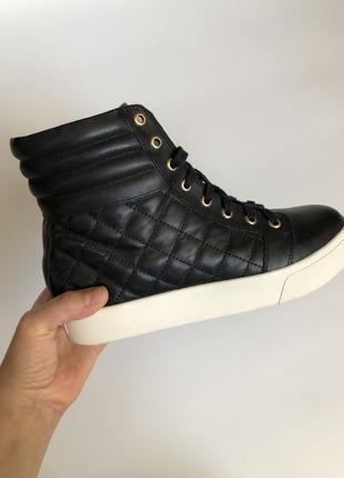 Кожаные кеды кроссовки чёрные dkny