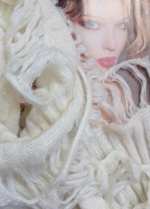 Chesco, теплий красивий шерстяний шарф айворі